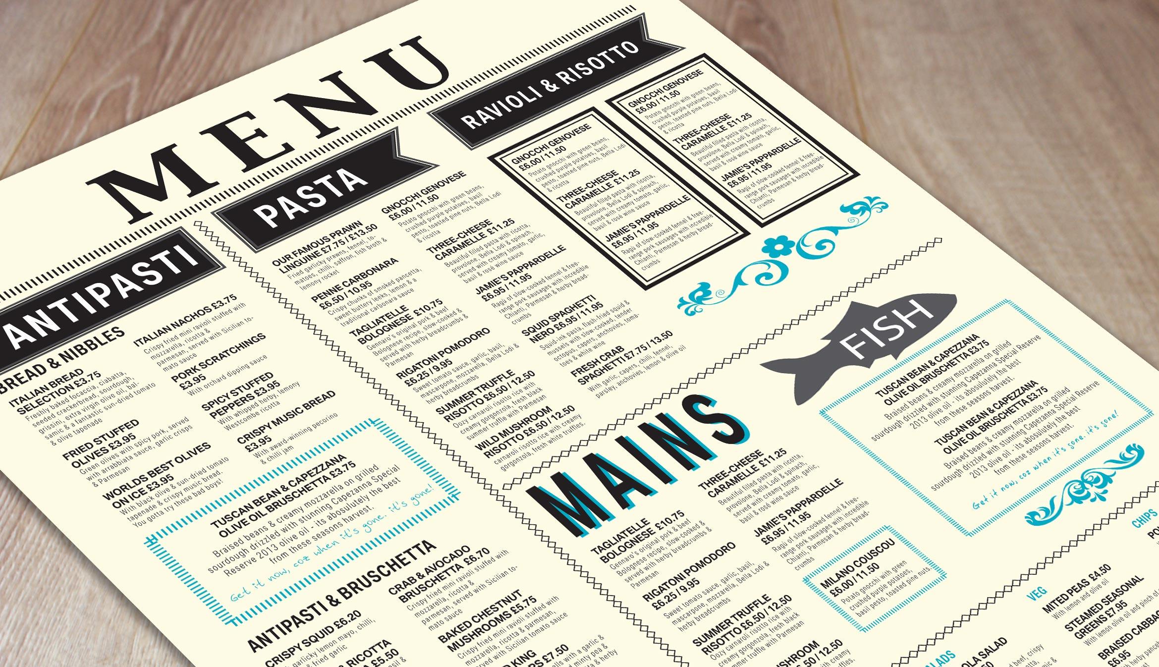 get the look  free menu templates