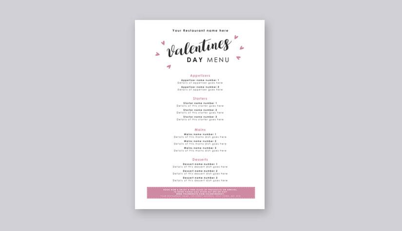 valentines day menu templates free download