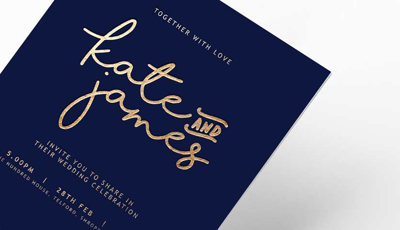 gold foiled wedding invite